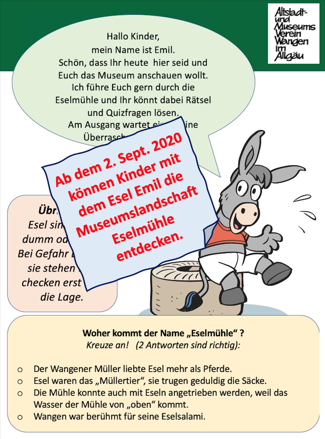 Museumskinderführungen mit dem Esel Emil
